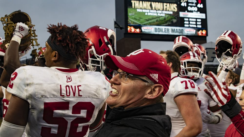 Head football coach Tom Allen smiles after IU's game win against Purdue on Nov. 30 at Ross-Ade Stadium. IU signed Allen to a seven-year contract extension Friday, which makes him the highest-paid IU employee.