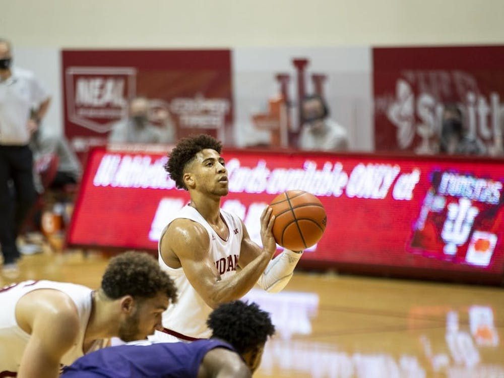 Junior guard Rob Phinisee prepares for a free throw during the final 30 seconds of the Hoosiers' match against Northwestern on Dec 23, 2020, at Simon Skjodt Assembly Hall.