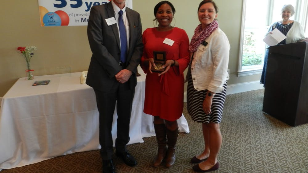 Monroe County CASA volunteer Adaliah Brown accepts the CASA Volunteer of the Year award in April 2019. Executive director Kristin Bishay said on Saturday that almost 80 children are on the waitlist to be assigned to a CASA, and the program needs about 50 more volunteers to keep up with that growing list.