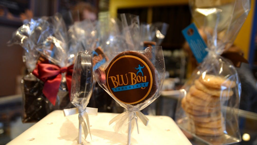 A lollipop is for sale Feb. 4 at Blu Boy Chocolate. The store is open Monday through Saturday from 10 a.m. to 10 p.m.