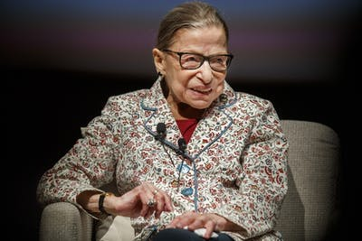 Late Supreme Court Justice Ruth Bader Ginsburg attends a public conversation at the University of Chicago on September 9, 2019, in Chicago. Ginsburg died Friday at the age of 87 at her personal residence.