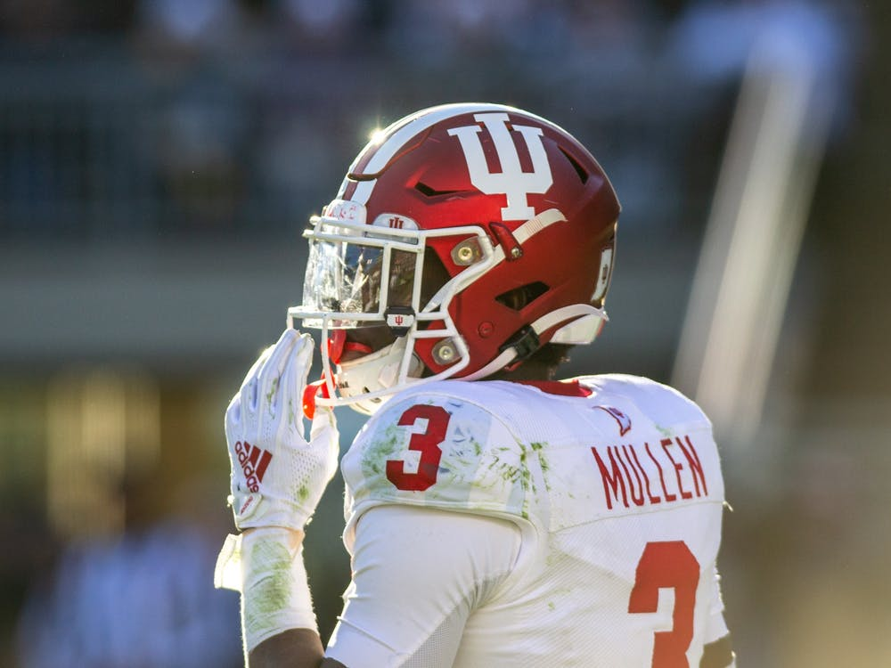 Then-freshman defensive back Tiawan Mullen looks at the sidelines Nov. 16, 2019, at Beaver Stadium in State College, Pennsylvania. Mullen and the No. 17 IU defense will look to stop No. 18 Iowa's defense Saturday in the first football game of the 2021 season.