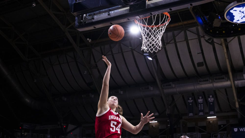 Then-freshman Mackenzie Holmes puts up a layup Dec. 11, 2019, at Hinkle Fieldhouse in Indianapolis. Holmes had 25 points and 12 rebounds against Iowa on Sunday.