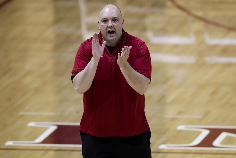 "IU volleyball Coach Steve Aird encourages his team during fall camp in August 2018. Aird said new volunteer assistant Gwen Egbert is ""an impressive person with a contagious energy."""