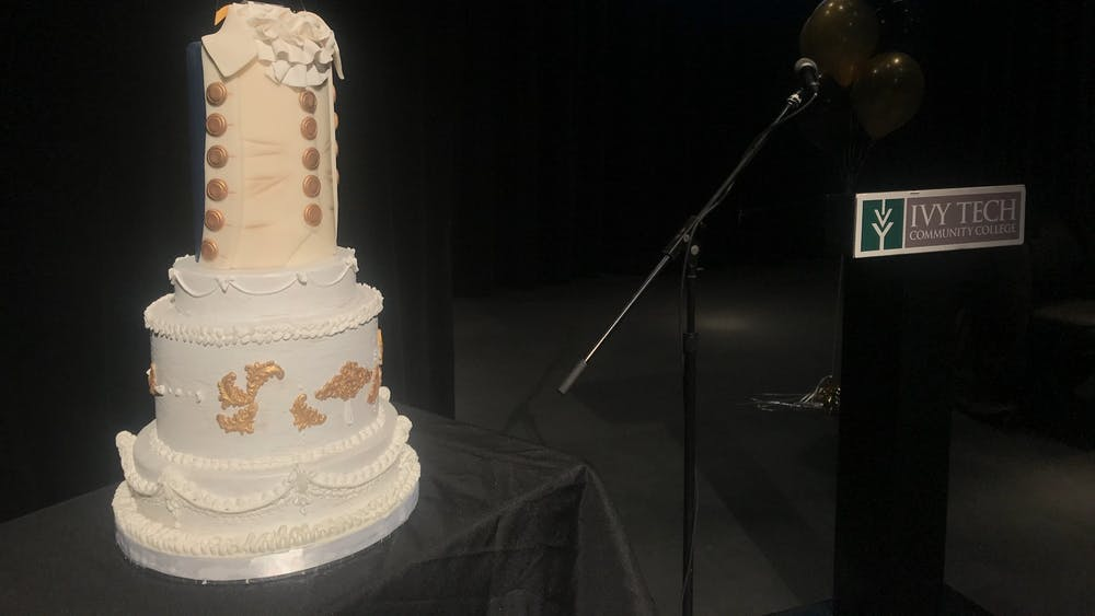 A cake sits on a table Jan. 30 in the Ivy Tech John Waldron Arts Center. The event, A Celebration of Alexander Hamilton, commemorated Hamilton's birthday on Jan. 11.