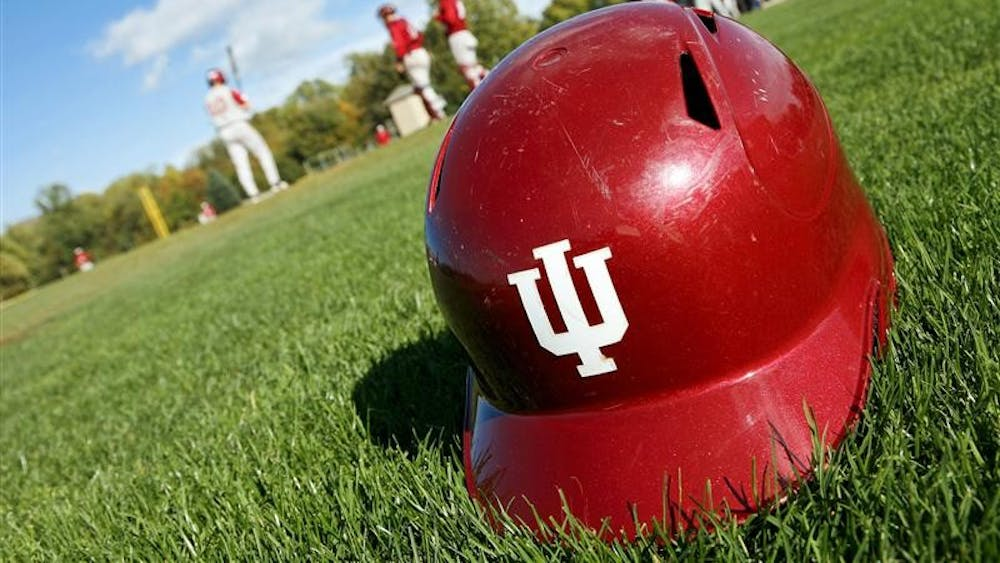 The IU baseball team readies for another inning during the first game of the Cream and Crimson World Series October 8, 2008 at Sembower Field.