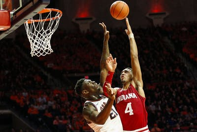 Freshman forward Trayce Jackson-Davis goes up for a shot against University of Illinois freshman center Kofi Cockburn. Jackson-Davis averaged 13.5 points and 8.4 rebounds per game last season.
