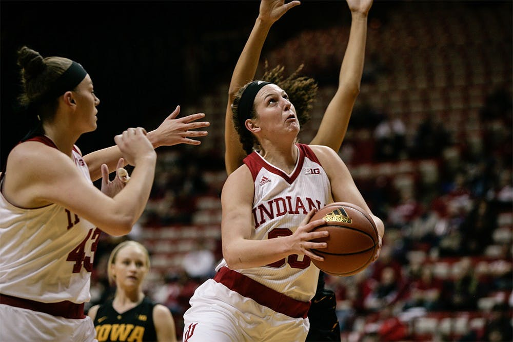 Sophomore forward Amanda Cahill jumps towards the basket in an attempt to score. Cahill led in scoring against the Hawkeyes, putting up 24 points to help the Hoosiers win 79-74 on Thursday night at Assembly Hall.