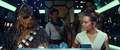 "Chewbacca (Joonas Suotamo), Poe Dameron (Oscar Isaac), Rey (Daisy Ridley)and Finn (John Boyega) star in a scene during the new Star Wars movie, ""Star Wars: The Rise of Skywalker"". The movie premiered Dec. 20, 2019."