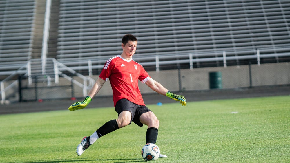 Sophomore goalkeeper Roman Celentano kicks the ball against Penn State in the Big Ten Men's Soccer Tournament Championship on April 17, 2021, at Bill Armstrong Stadium in Bloomington. Celentano made four saves in IU's win over Notre Dame on Aug. 27, 2021.
