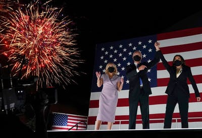 Jill Biden, former vice president and Democratic presidential nominee Joe Biden and California Senator and Democratic vice presidential nominee Kamala Harris greet supporters Aug. 20 outside the Chase Center in Wilmington, Delaware, at the conclusion of the Democratic National Convention.