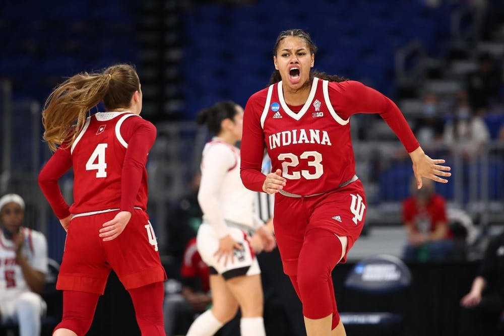 <p>Freshman Kiandra Browne runs during a game against North Carolina State on March 27 during the NCAA tournament. The Hoosiers lost 53-66 to the Arizona Wildcats on Monday in San Antonio, Texas. </p>