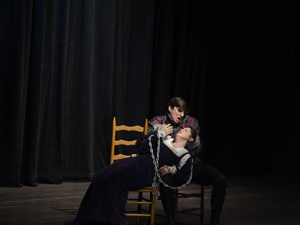 Cavalli's Masque, directed by Catherine Thurocy, is performed at the Ivy Tech Waldron Auditorium, Jan. 14. Photo by Wenqing Yan.