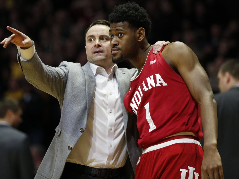 IU men's basketball head coach Archie Miller talks to then-junior guard Al Durham during a free throw Feb. 27 at Mackey Arena in West Lafayette, Indiana. IU opened the 2020-21 season at 8 p.m. Wednesday night with a game against Tennessee Tech at Simon Skjodt Assembly Hall.