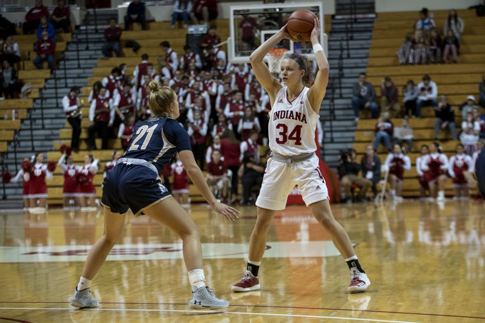 <p>Sophomore Grace Berger looks to pass the ball Nov. 7 at Simon Skjodt Assembly Hall. Berger scored 24 points against Mount St Mary's University.</p>