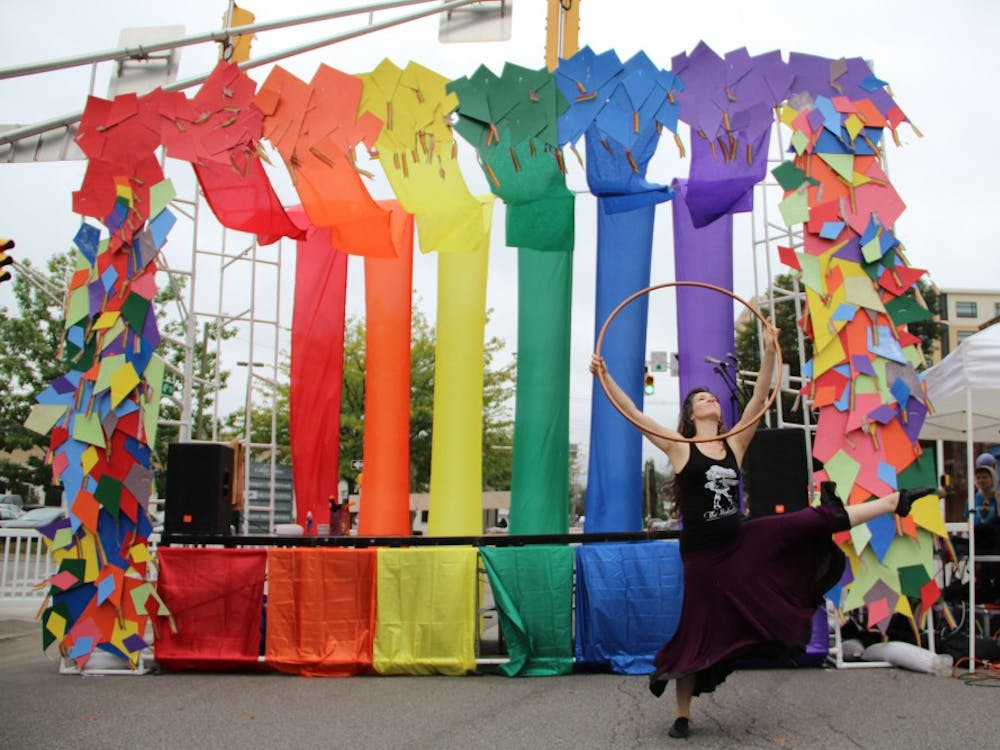 Local Bloomington performers show their support for the LGBTQ community at the 2015 Bloomington Pride Block Party on Fourth Street.
