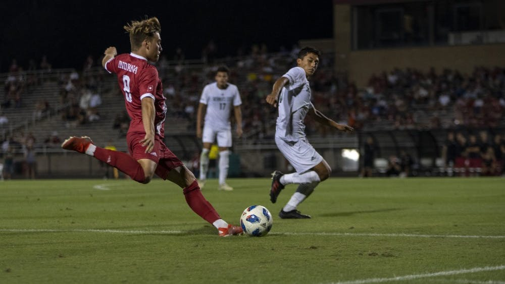 Freshman Aidan Morris attempts a goal on Sacramento State University after a corner kick Sept. 27 at Bill Armstrong Stadium. Morris only attempted one goal during the match.