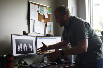 Gary Motz describes how he is creating 3D models of Megalonyx jeffersonii April 17 in the Indiana Geological and Water Survey. Motz and his colleague Polly Root Sturgeon want to both 3D print and use cardboard to recreate the skeletons.