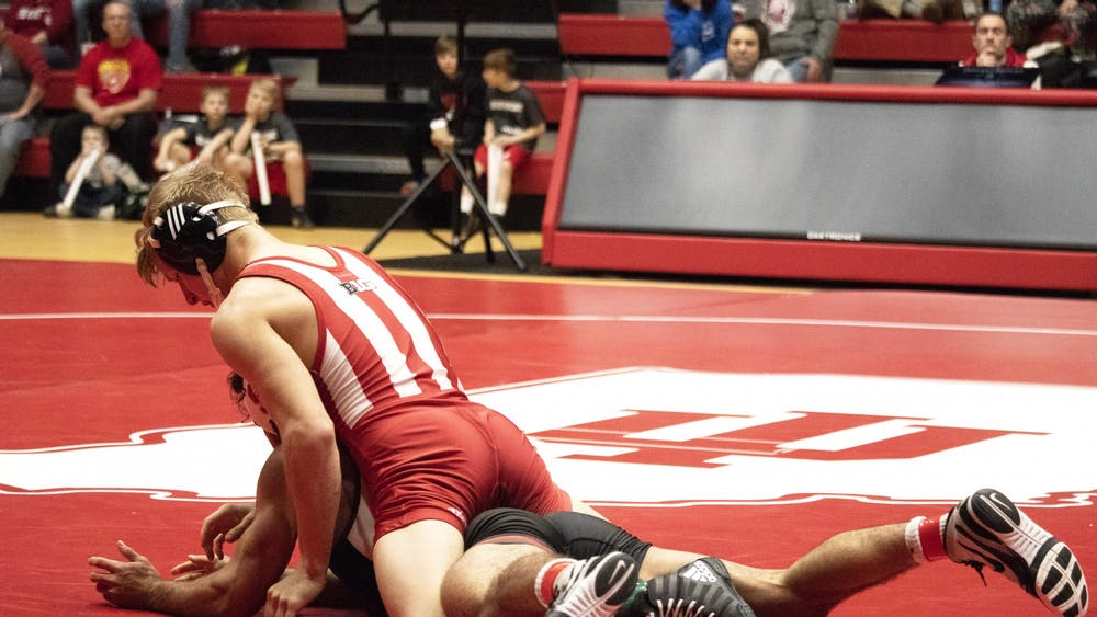 Then-freshman, now-sophomore Kyle Luigs wrestles Feb. 9 in Wilkinson Hall. IU wrestled in the Michigan State Open on Nov. 2 in East Lansing, Michigan.