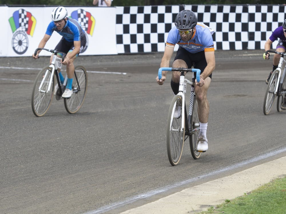 Junior Justin Rowe races during the men's Little 500 on May 26.