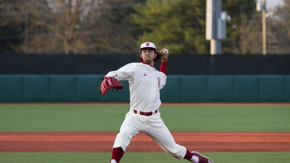 Then-freshman pitcher Tommy Sommer pitches the ball during IU's 9-8 win against Ball State on April 18 at Bart Kaufman Field.