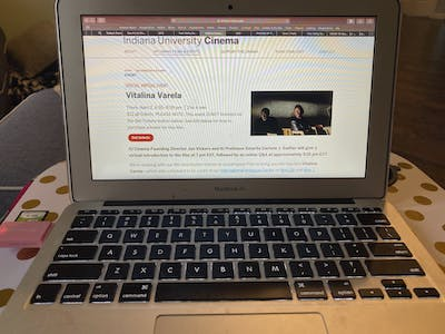 """A laptop displaying information for the film """"Vitalina Varela"""" is pictured. IU Cinema is now streaming many films in response to the coronavirus pandemic."""