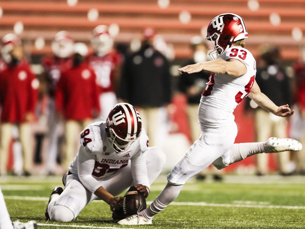 Then-sophomore, now-junior kicker Charles Campbell kicks a field goal Oct. 31, 2020, at SHI Stadium in Piscataway, New Jersey. Campbell has a career-long kick of 53 yards.