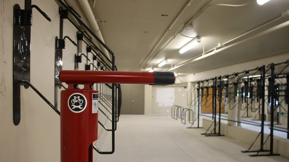 IU's new Ballantine Bike Hub appears Wednesday in the northeast corner of Ballantine Hall. The hub is a part of IU- Bloomington's Bicycle Master Plan from 2015.
