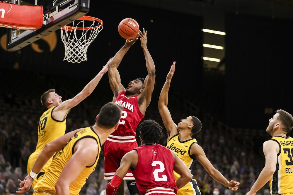 <p>Freshman forward Jordan Geronimo makes a jump shot Jan. 21 at Carver-Hawkeye Arena in Iowa City, Iowa. Geronimo announced Thursday that he entered the NCAA transfer portal, becoming the fifth IU player to do so as of 1:30 p.m. Thursday.</p><p><br/></p>