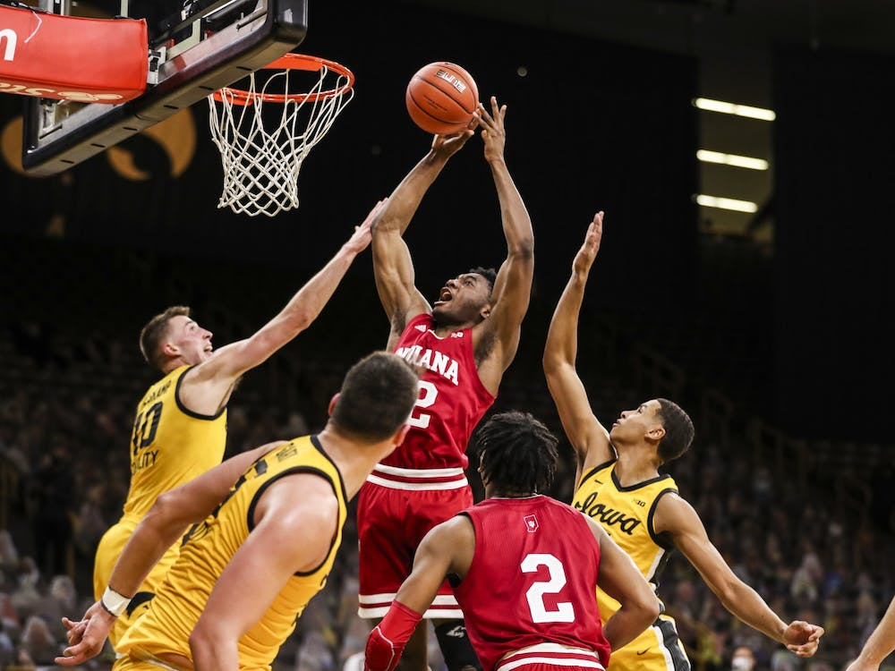 Freshman forward Jordan Geronimo makes a jump shot Jan. 21 at Carver-Hawkeye Arena in Iowa City, Iowa. Geronimo announced Thursday that he entered the NCAA transfer portal, becoming the fifth IU player to do so as of 1:30 p.m. Thursday.