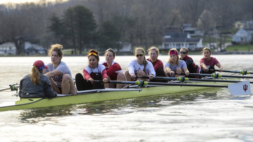 The IU women's rowing team practices at Lake Lemon during the 2016 season.