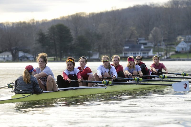 The IU women's rowing team practices at Lake Lemon during the 2016 season.