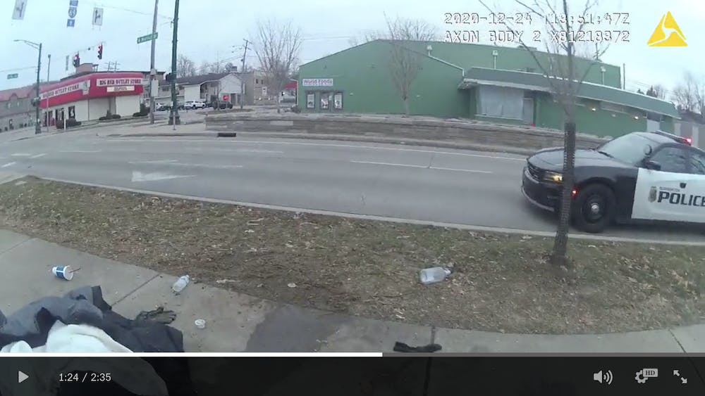 A still from Bloomington Police Department body camera footage is pictured. Bloomington resident JT Vanderburg died from causes including hypothermia Dec. 24, 2020.