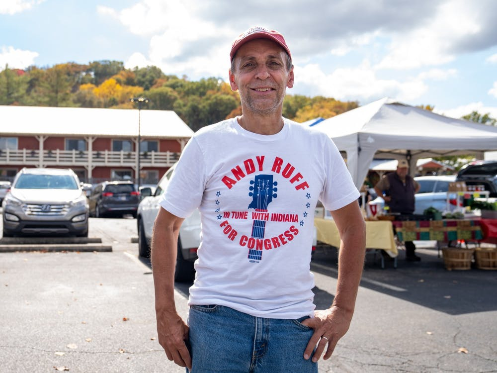 Democrat Andy Ruff poses at the Nashville Farmer's market Oct. 11, 2020. Since congressional maps were redrawn after the 2010 census, Democratic candidates have not been within 10 points of Republicans in Indiana's 9th District.