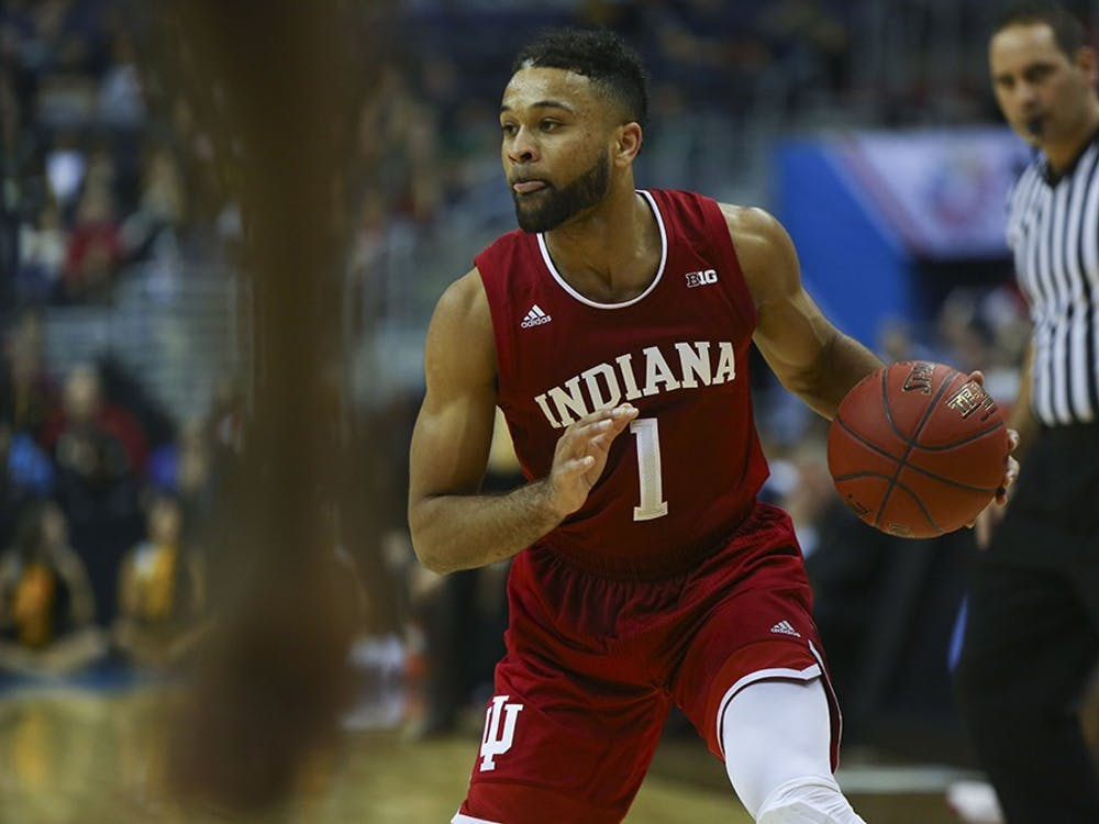 Junior guard James Blackmon Jr. stops outside the 3 point arc during IU's first game of the Big Ten Tournament in Washington, D.C. on March 9, 2017. Blackmon Jr. is entered into the NBA Draft that will take place on Thursday.