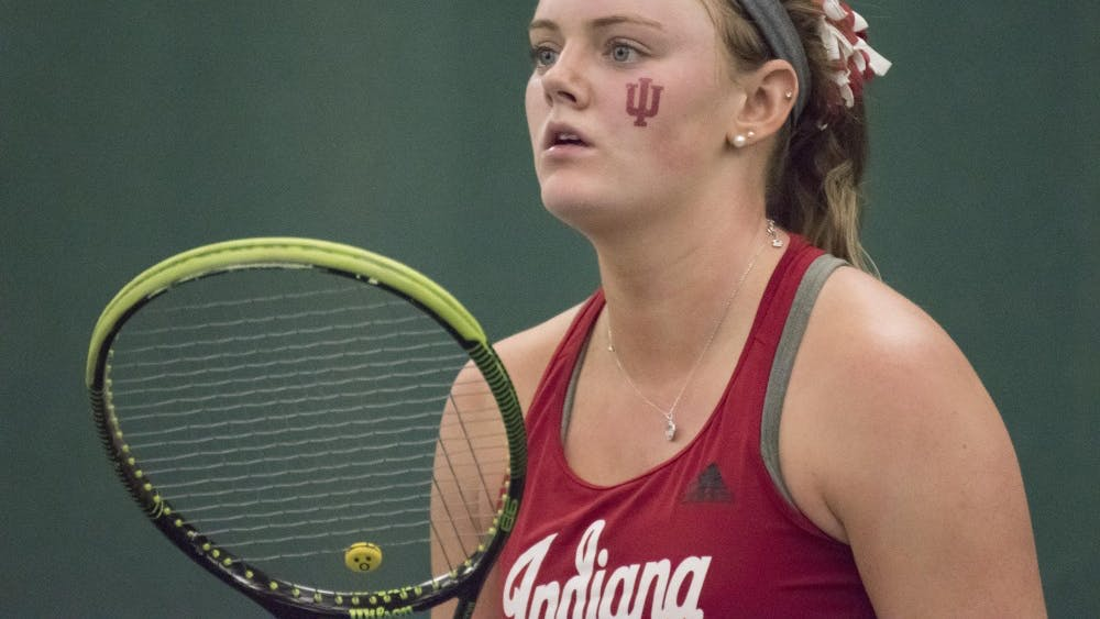 Sophomore Caitlin Bernard awaits her opponent's serve during her 6-3, 6-7, 10-6 singles win over Purdue. The Hoosiers enter the Big Ten Tournament as the No. 10 seed.