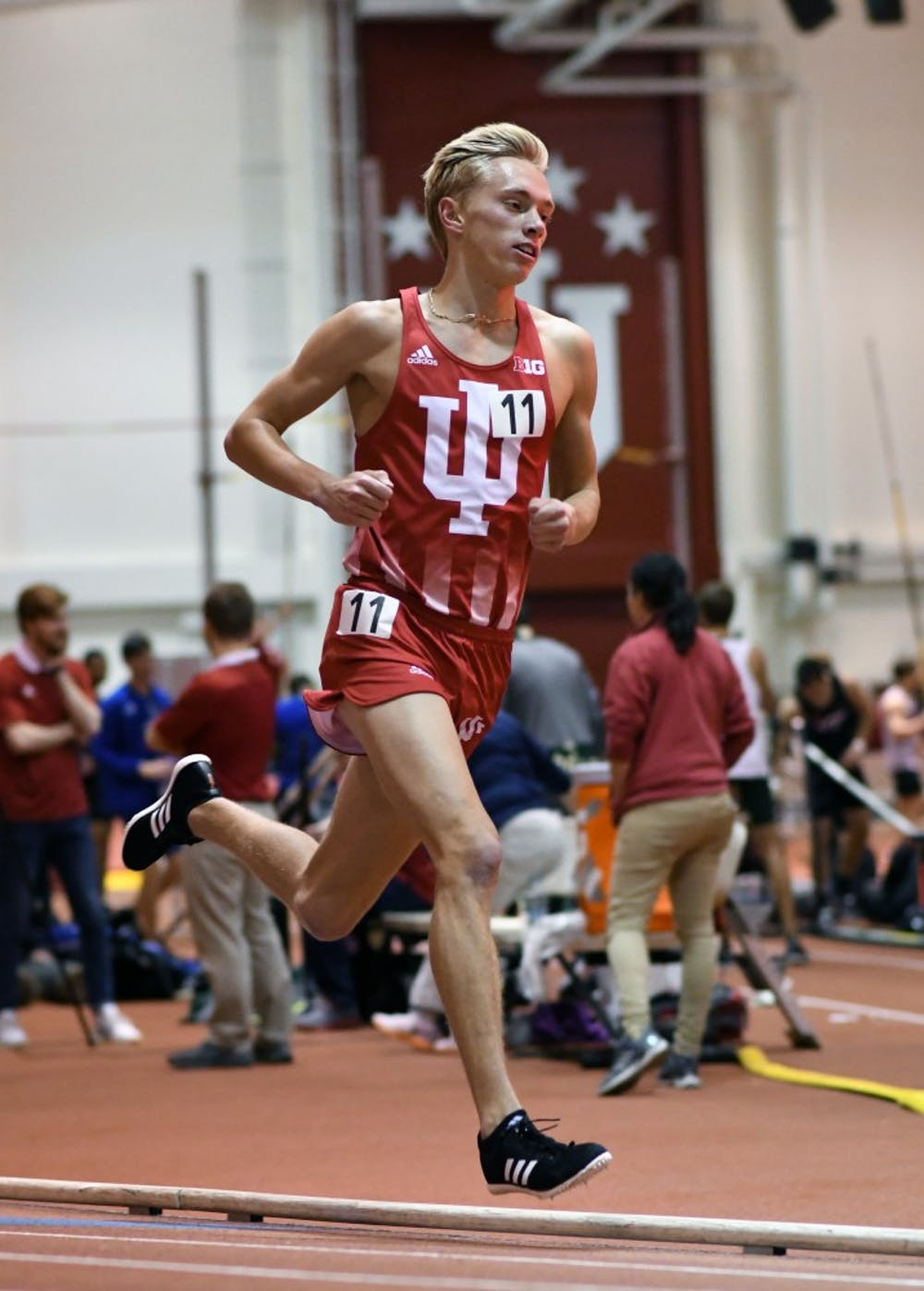 <p>Redshirt freshman Ben Veatch races in the 3000 meters at the Gladstein Invitational. Veatch finished 16th in the men's 5,000-meter run at the NCAA Track and Field Outdoor Championships on Friday.&nbsp;</p>