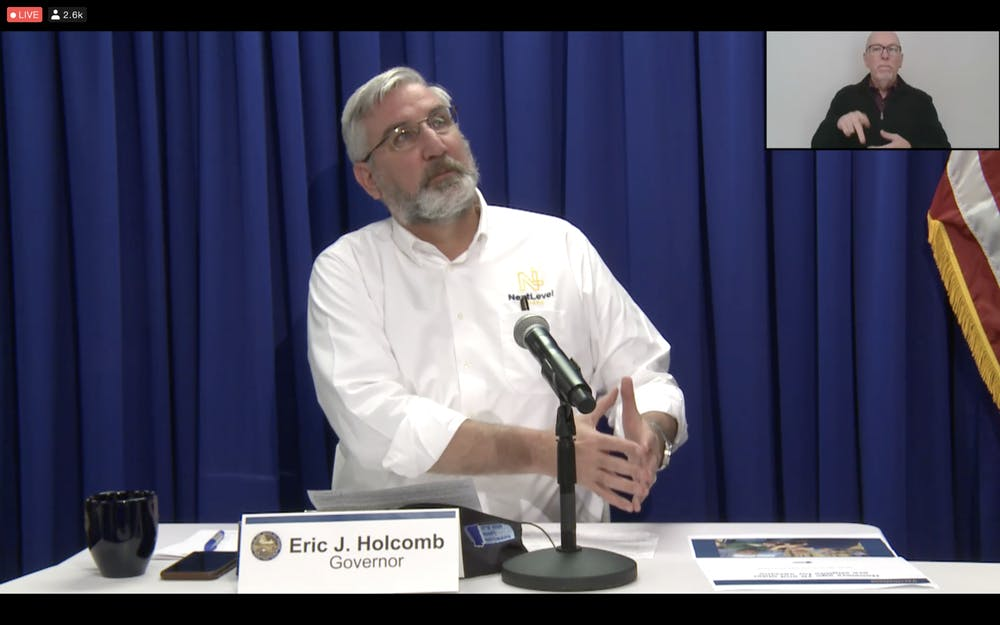 <p>Gov. Eric Holcomb speaks Wednesday during a weekly virtual press conference giving updates about the COVID-19 pandemic. Holcomb said the state predicts 455,000 residents will receive the vaccine by the end of January.</p>