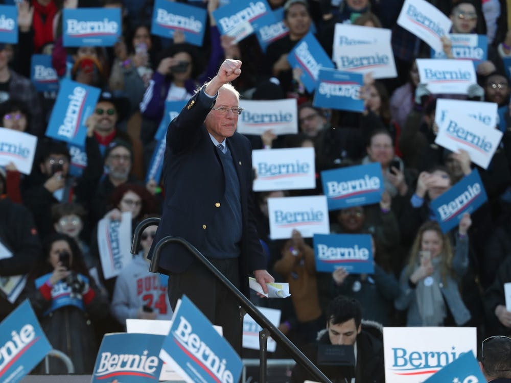 Presidential candidate Sen. Bernie Sanders acknowledges the crowd after speaking March 7 at Grant Park in Chicago.