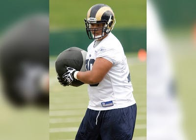 Rodger Saffold runs through some drills during minicamp for rookies at the St. Louis Rams' training facility April 30, 2010, in Earth City, Missouri. Saffold made his 100th NFL start on Sunday.