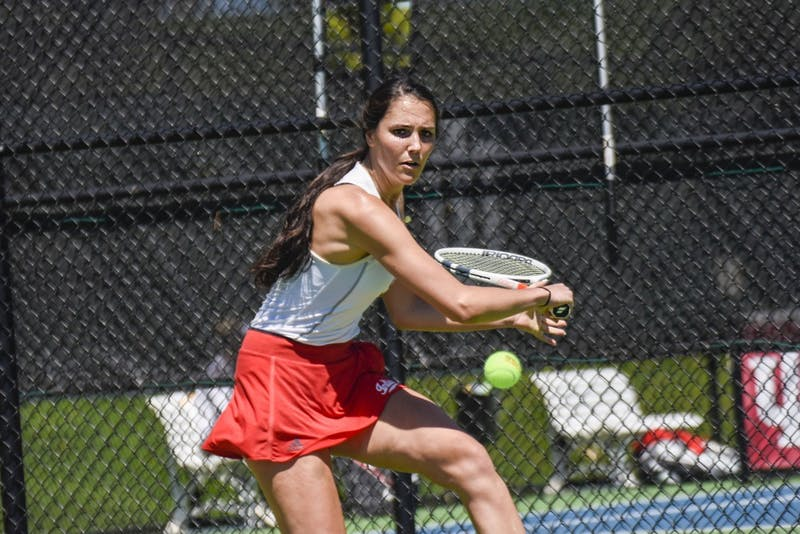 Freshman Somer Henry eyes a backhand during a match against Maryland on April 21 in Bloomington. IU will play Iowa on April 25 in Lincoln, Nebraska during the Big Ten tournament.