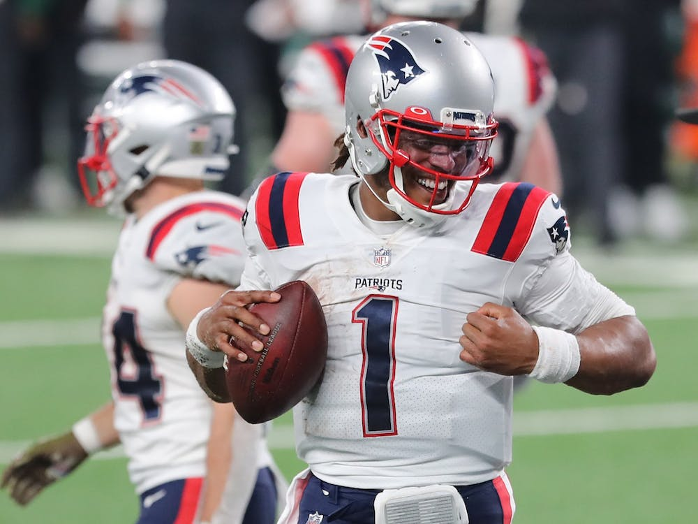 Cam Newton reacts after scoring a game-tying touchdown for the New England Patriots during the second half against the New York Jets on Nov. 9, 2020, at MetLife Stadium in East Rutherford, New Jersey.
