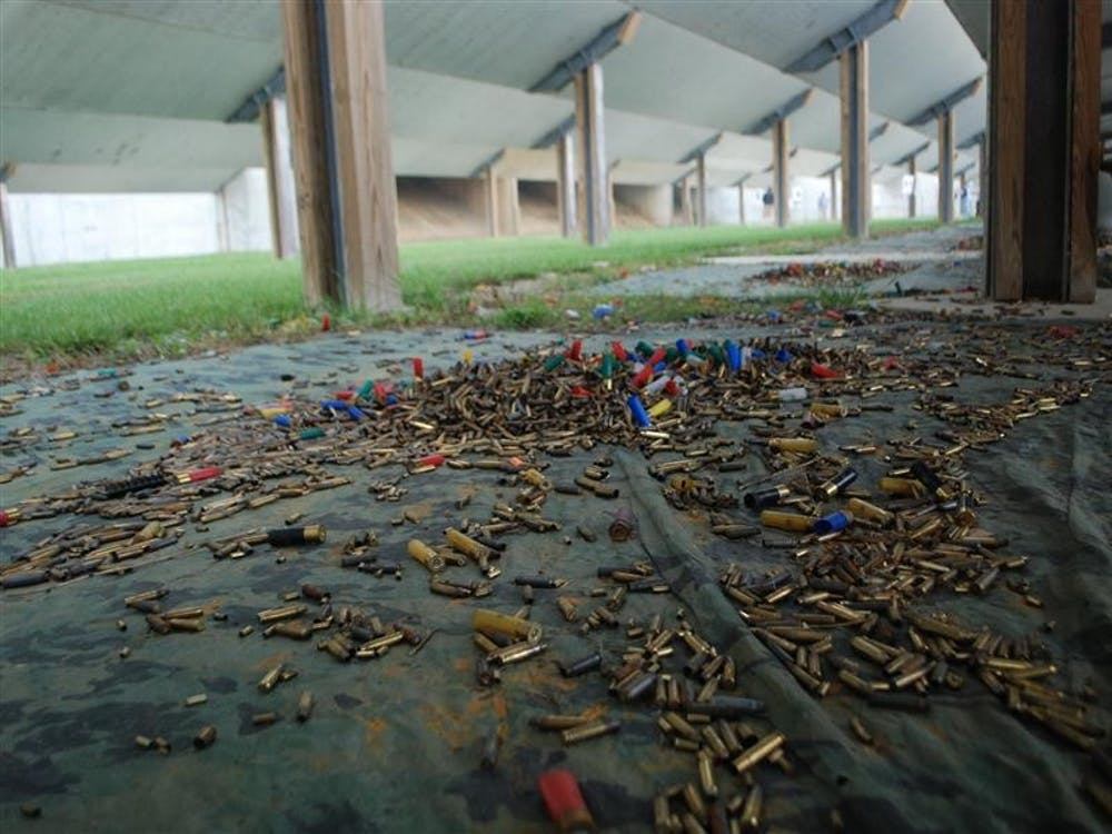 Shells lie on the ground Sept. 29 at Atterbury Shooting Range. The range is open to members of the public, including participants in the Department of Natural Resources' Hunt, Fish, Eat program.