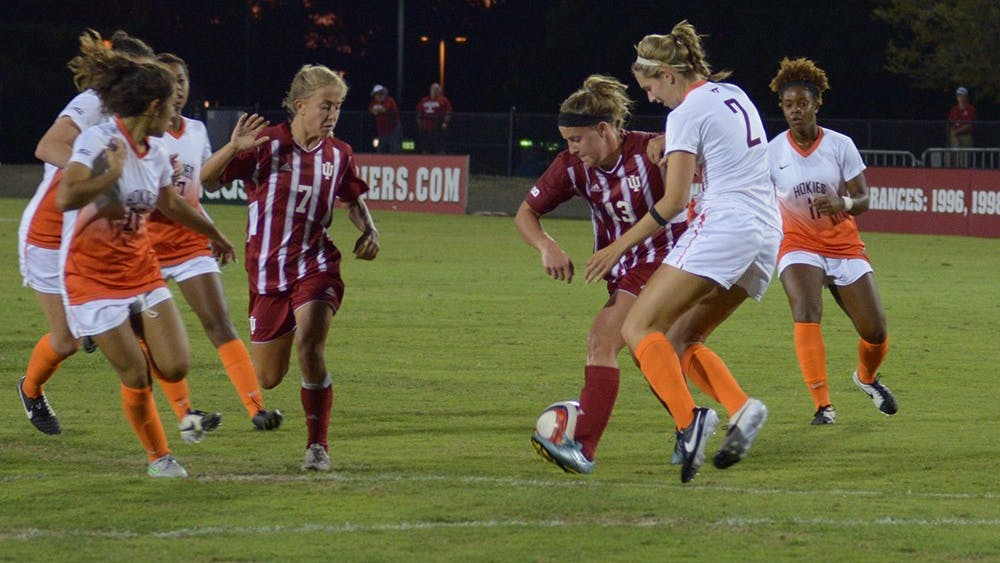Freshman forward Maya Piper works through the Virginia Tech defense on August 21 at Bill Armstrong stadium. Virginia Tech defeated IU 1-2.