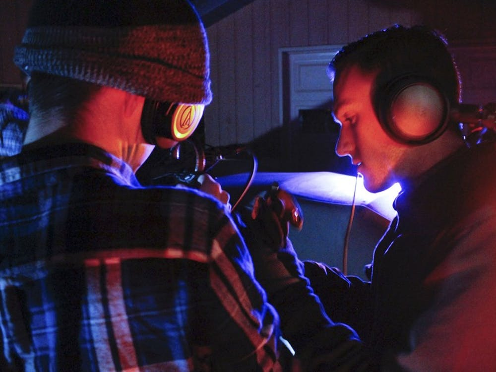 """Garrett Goad and Andrew Torbenson collaborate to record audio on the set of """"Repopulate""""."""