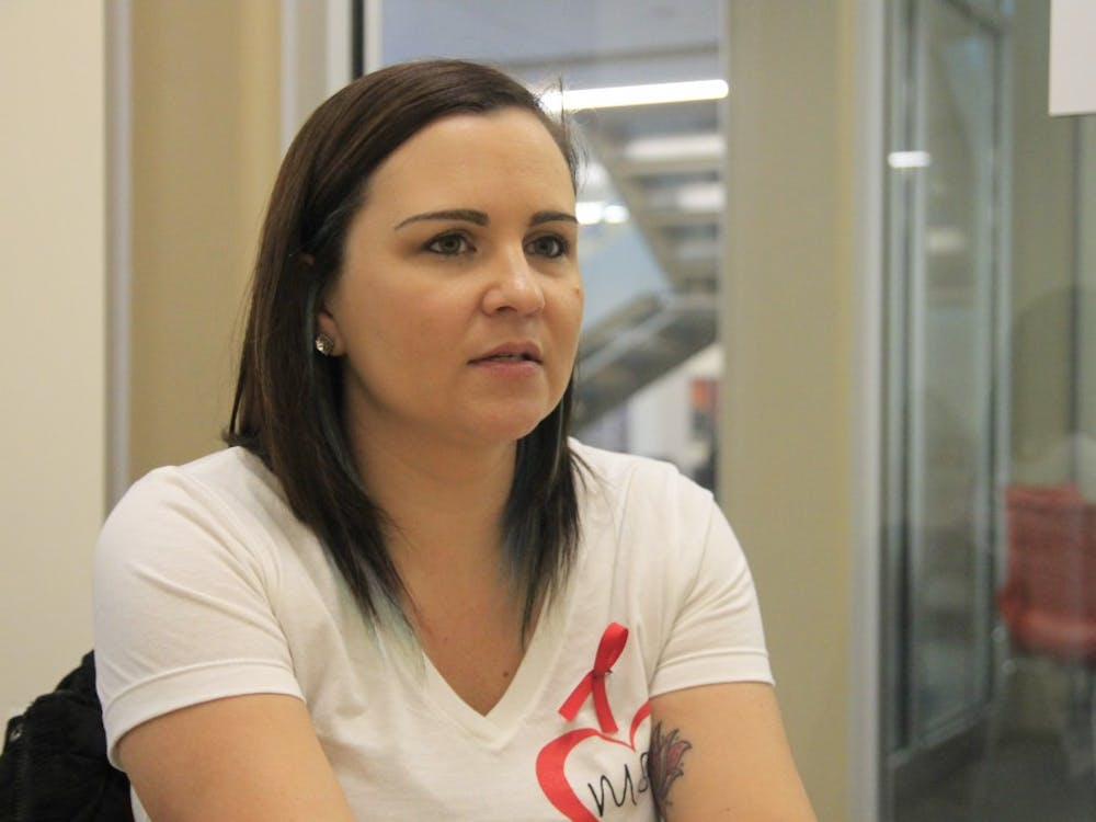 IU alumna Katherine Posada, a 10th grade English teacher from Marjory Stoneman Douglas High School, speaks one-on-one about her experience during the shooting. Posada also spoke during a talk at the IU School of Education on Friday.