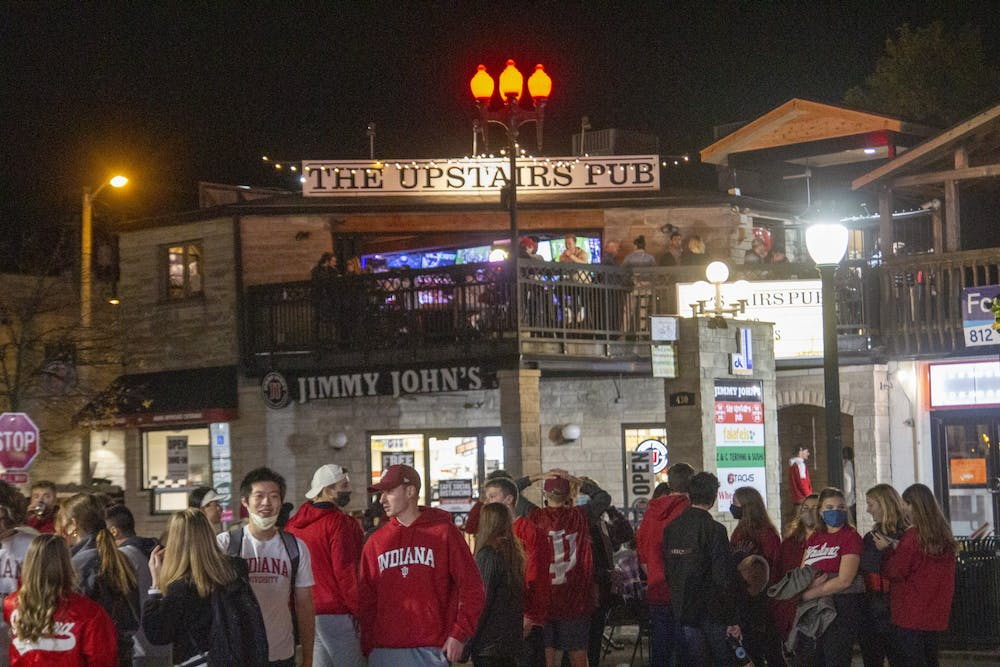 <p>Fans gather on Kirkwood Avenue after IU defeated No. 8 Penn State on Oct. 24.</p>