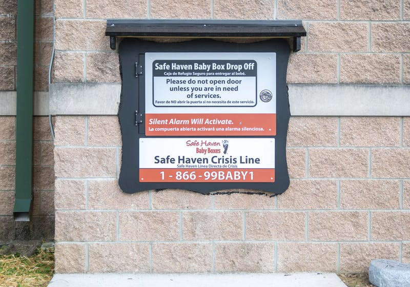 A Safe Haven Baby Box Drop Off is located on the South Lincoln Street side of the Fourth Street fire department. Bloomington's baby box is the 32nd installed in the United States by SHBB.
