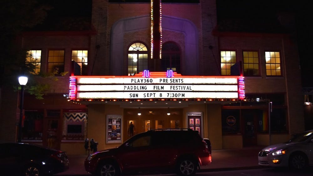 The marquee displays details of the Paddling Film Festival on Sept. 8 at the Buskirk-Chumley Theater. The festival featured 26 films centering on paddling sports such as kayaking, canoeing and paddleboarding.
