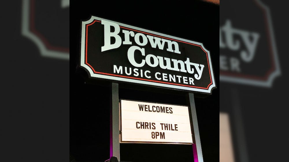 Signage for the Chris Thile concert is seen on Oct. 3, 2021, at Brown County Music Center in Nashville, Indiana.